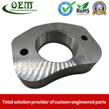 Custom Precision Anodizing Aluminum CNC Turning Threaded Parts - Aluminum Flange Applied in Plastic Injection Machinery